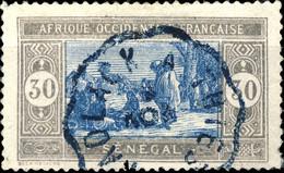 """SÉNÉGAL - Ca.1930 CàD Convoyeur-Ligne Bleu """" KAOLACK À THIES """" Sur Yv.77 30c Gris & Bleu - Gebruikt"""