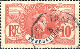 """SÉNÉGAL - Ca.1910 CàD Convoyeur-Ligne """" KAYES À THIES """" Sur Yv.34 10c Faidherbe - Used Stamps"""