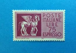 1958 ITALIA FRANCOBOLLO NUOVO ITALY STAMP NEW MNH** ESPRESSO CAVALLI ALATI DA 75 LIRE - 1946-60: Mint/hinged