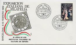 3585 Carta  Barcelona 1969, Exposición Italiana De Filatelia , 30 Años De Los Institutos Italianos De Cultura En España - 1961-70 Cartas