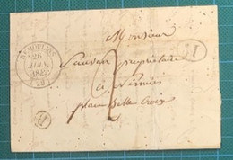 Gard - Remoulins - Cad 14 Du 26 Juin 1842 -1D Noir Boite Rurale B = Aramon - 1701-1800: Precursores XVIII