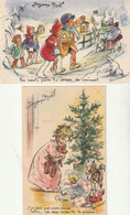 """Germaine BOURET - Illustrateur De 2 CPA De Voeux """" Joyeux Noël """" 1 écrite. Les 2 En Bon état. 2 Scan. - Bouret, Germaine"""
