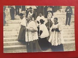CPA PHOTO MONACO PROCESSION SAINTE DÉVOTE PERSONNALITÉS RELIGIEUSES - Monte-Carlo