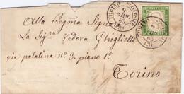 1865 Piego Con Testo 5c Sardegna Per Torino -buoni Margini - Sardinia