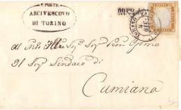 1865 Piego   10c Sardegna Da Torino Per Cumiana Annullo Dopo La Partenza -buoni Margini - Sardinia