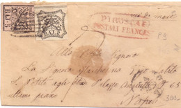 Bustina Con 5 Baj E 8 Baj Da PIROSCAFI FRANCESE Per Napoli - Via Di Mare P.ti 9 - Estados Pontificados