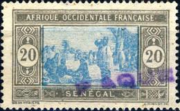 """SÉNÉGAL Oblitéré En GUINÉE - Ca.1935 Griffe """" PAQUEBOT """" Hosking N°1290 Utilisée à CONAKRY Sur Yv.102 20c Gris & Bleu - Used Stamps"""