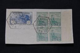 FRANCE - Oblitération Du Croiseur Lamotte En 1927 Sur Orphelins ( 163 En Bloc De 4 + 232 ) Sur Fragment - L 89385 - 1921-1960: Période Moderne