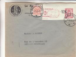 Belgique - Lettre De 1954 - Oblit Bruxelles - Avec Timbre Entier Postal Découpé - - Cartas