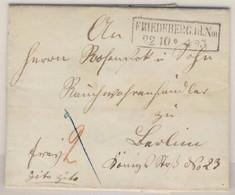 Preussen - Friedeberg 1859 Ra2 Francobrief (cito, Cito !) Mit Inhalt Nach Berlin - Prusse
