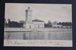 CARTOLINA RIMINI IL FARO CON VEDUTA DA VILLA NOVELLI VG 1905 - Rimini