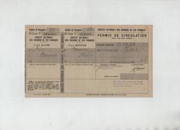 Permis De Circulation 1939 SNCF Nice Cannes Aller Retour - Zonder Classificatie