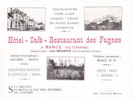 Hôtel - Café - Restaurant Des Fagnes à Rance-lez-Chimay. Carte De Visite - Prix Au Verso. - Cartes De Visite