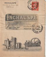 PANTIN, 143 Rue De Paris. Env. Commerciale Illustrée + Facture INCHAUPSE, Moteurs Et Gazogènes..... - Other