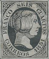 ESPAÑA - Spagna  - Spain,1851 Queen Isabella II,6Cs Black, Thin Paper, Hinged, Gum, Singed ,Value:€250,00 - Neufs