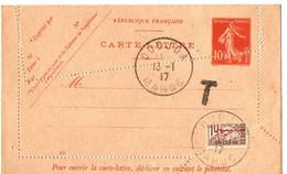 ENTIER POSTAL SEMEUSE 10 CTS. VARIETE DE PIQUAGE + DEMI TIMBRE TAXE 10 CTS.OUDJDA . 1917 - Briefe U. Dokumente