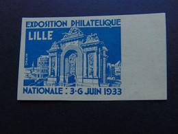 Belle Vignette émise Par Draim Pour L'exposition Philatélique De Lille De 1933 - Expositions Philatéliques