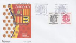 Enveloppe  FDC  1er  Jour   ANDORRE   ANDORRA     Armoiries     2007 - Sin Clasificación
