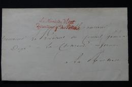 FRANCE - Griffe Du Ministre D'Etat Directeur Général Des Postes Sur Lettre Pour La Rochelle - L 89405 - 1801-1848: Precursors XIX