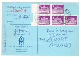 XZ244    Germany 1963 Postcard Hydro-Chemie G.m.b.H. Nach Adorf - Mi.Nr. 231 X5 - Cartas