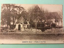 CPA 32 - SORBETS, L'Eglise Et Son Parc, Voiture - Non Classés
