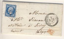 """N° 14 Oblitération HAUTMONT Perlé 1860 """"PD""""  """"France Par Erquelinnes N°3"""" Et """"Erquelinnes à Paris 2°"""" - 1853-1860 Napoleon III"""