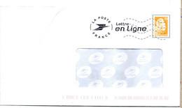 Entier Postal PAP à Fenêtre Lettre En Ligne. Marianne De Catelin. N° D'agrément Au Dos : 292414 Courrier En Ligne. - Prêts-à-poster:  Autres (1995-...)