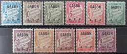 R2452/104 - 1928 - COLONIES FR. - GABON - TIMBRES TAXE - SERIE COMPLETE - N°1 à 11 NEUFS* - Timbres-taxe