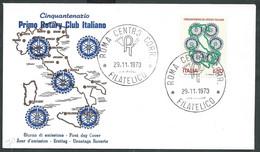 1973 ITALIA FDC UNED ROMA ROTARY NO TIMBRO ARRIVO - H2 - F.D.C.
