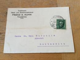 K16 CSSR 1928 Karte Von Trautenau Trutnov - Briefe U. Dokumente