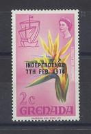 """GRENADA...QUEEN ELIZABETH II..(1952-NOW..).."""" 1974..""""...INDEPENDENCE....7th.FEB....STRELITZIA REGINAE...2c...SG595...MH. - Granada (...-1974)"""