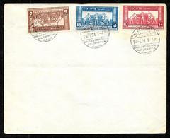 1931 Egypte Egypt 3 Timbres EXPOSITION AGRICOLE Et INDUSTRIELLE Sur Une Enveloppe, Oblitérations En Rapport - Briefe U. Dokumente