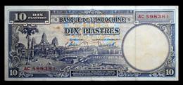 # # # Ältere Banknote Französisch Indochina (french Indochine) 10 Piastres 1947 # # # - Indochina