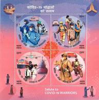 INDIA 2020 Salute To Covid-19 Warriors Coronavirus Health Vaccination Medicine Miniature (Limited) MS (**) Inde Indien - Nuevos