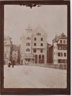 Photo Originale Albuminée 1906 : Lucerne Luzern (Suisse)    Facades De Maisons Anciennes - Places