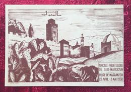 29 Avril/8 Mai 1950✔️CARTE POSTALE NUMÉROTÉE-- FOIRE DE MARRACKECH MAROC -☛ AMICALE PHILATELISTE DU SUD MAROCAIN - Briefe U. Dokumente