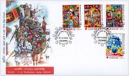 SRI LANKA 2020 FDC Cover Frontline Heroes , Covid-19, Coronavirus , Mask, Doctor, Nurse, Vaccine ,Army, Food(**) - Sri Lanka (Ceylon) (1948-...)