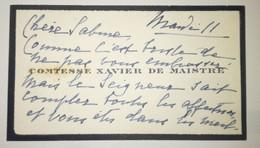 Carte De Visite Autographe - Comtesse Xavier De Maistre - Cartes De Visite