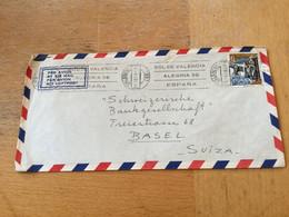 K16 Spanien 1961 Brief Von Valencia Nach Basel - 1961-70 Cartas