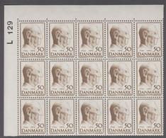 1969. DANMARK. KING FREDERIK IX. 50 øre. 15-Block Number L 129. (Michel 477) - JF414934 - Briefe U. Dokumente