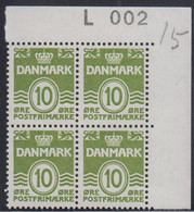 1963. DANMARK. 10 øre. 4-Block L 0o2.  (Michel 328y) - JF415032 - Briefe U. Dokumente