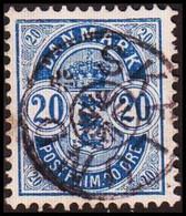 1904. DANMARK. Coat-of Arms. Large Corner Figures. 20 Øre Blue. Perf. 12 3/4. STAR Ca... (Michel 36B) - JF415176 - Oblitérés