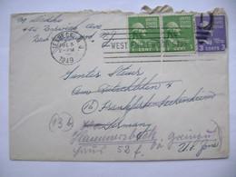 US 1949 Letter Teaneck NJ - Germany, Stamp Washington 1 C., Jefferson 3 C., Machine Postmark West Englewood... - Cartas