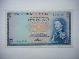 MALTA 5 Pounds 1961 P-27a - Malta