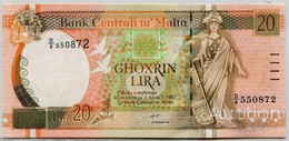 MALTA  20 Lira 1967-94 Pick 48, UNC - Malta