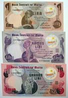 MALTA 1, 5, 10 Lira 1979 AUNC-UNC - Malta