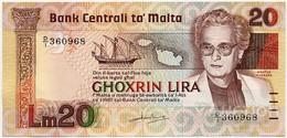 MALTA  20 Lira 1967 (1986) Pick 40a, AUNC-UNC - Malta