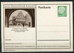 """Germany,Allemagne 1956 GS Mi.Nr.P24/0193 Heuss I Grün """"Lernt  Deutschland Kennen-Unna,Westfalen """"1 GS Blanco - Postales Ilustrados - Nuevos"""