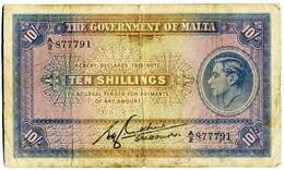 MALTA  10 Shilling, 1940, Rare! - Malta