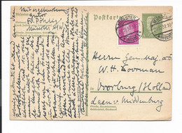DR P 194  - 5 Pf Hindenburg  M. 10 Pf ZF  Von Münster Nach Voorburg Niederlande Bedarfsverwendet - Stamped Stationery